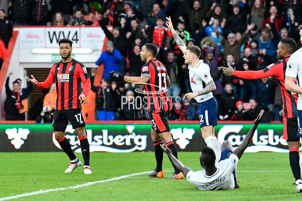 Callum Wilson (13) of AFC Bournemouth has a goal ruled after a foul on Dele Alli (20) of Tottenham Hotspur during the Premier League match between Bournemouth and Tottenham Hotspur at the Vitality Stadium, Bournemouth, England on 11 March 2018. Picture by Graham Hunt.