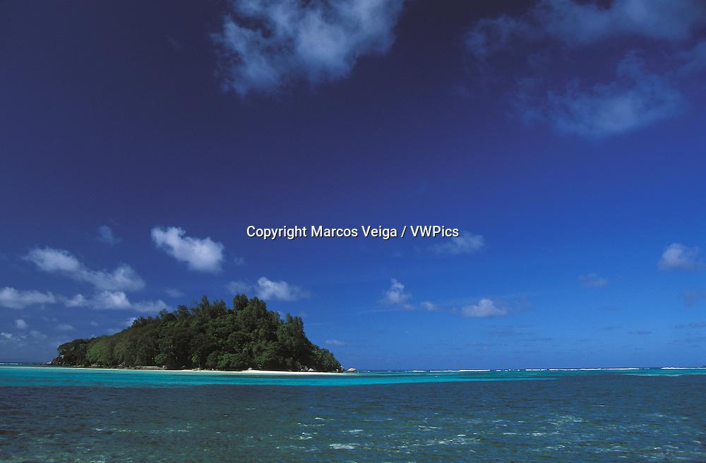 Moyenne island viewed from Round island. Mahe, Seychelles..