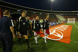 BELGRADE, SERBIA & MONTENEGRO - Wednesday, August 20, 2003: Wales' substitutes Mark Crossley, Jason Koumas and Andrew Johnson walk out to face Serbia & Montenegro before the UEFA European Championship qualifying match at the Red Star Stadium. (Pic by David Rawcliffe/Propaganda)