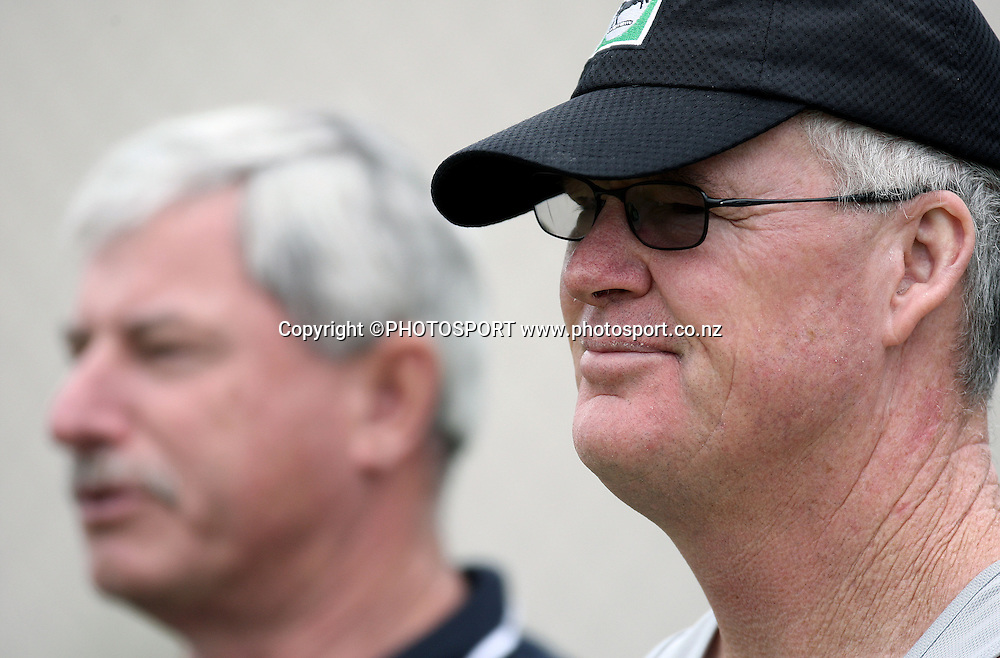 New Zealand coach John Bracewell (R) and Sir Richard Hadlee watch training at Bellerive Oval prior to the 3rd and deciding Chappell Hadlee Trophy match. Hobart, Australia. Wednesday 19 December 2007. <br />Photo: Andrew Cornaga/PHOTOSPORT
