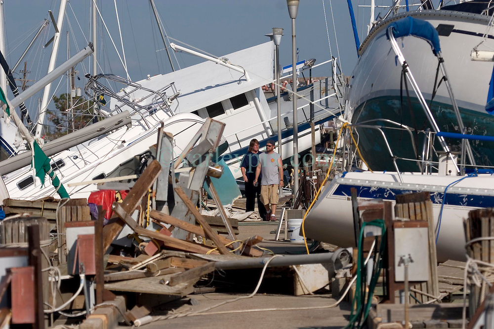 03 Oct, 2005.  New Orleans, Louisiana.  Hurricane Katrina aftermath.<br /> Smashed yachts at the Southern Yacht Club on the shores of Lake Pontchatrain in Lakeshore, New Orleans.<br /> Photo; &copy;Charlie Varley/varleypix.com
