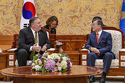 October 7, 2018 - Seoul, South Korea - U.S. Secretary of State Mike Pompeo, left, during a bilateral meeting with South Korean President Moon Jae-in at the Blue House October 7, 2018 in Seoul, South Korea. Pompeo stopped in Korea to brief allies following a round of meetings in North Korea. (Credit Image: © State Department via ZUMA Wire)