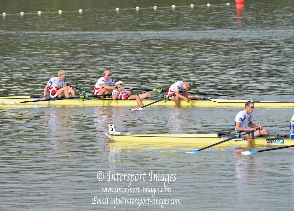 Chungju, South Korea. GBR LM4- Bronze Medalist, Adam FREEMAN-PASK (b) , William FLETCHER (2) , Jonathan CLEGG (3) , Chris BARTLEY (s)<br /> <br /> 2013 Rowing Championships, Tangeum Lake, International Regatta Course.  Sunday  01/09/2013 [Mandatory Credit. Peter Spurrier/Intersport Images]