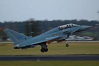 """03 NOV 2003, LAAGE/GERMANY:<br /> Eurofighter EF 2000 """"Typhoon"""" hier in der zweisitzigen Ausbildungsversion, neues Jagdflugzeug der Bundesluftwaffe, kurz nach dem Start, Jagdgeschwader 73 """"Steinhoff"""", Fliegerhorst Laage<br /> IMAGE: 20031103-01-097<br /> KEYWORDS: Bundeswehr, Bundesluftwaffe, Jet, Kampfflugzueg, in der Luft"""