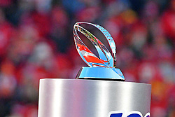 Jan 19, 2020; Kansas City, Missouri, USA; A view of the Lamar Hunt Trophy after the Kansas City Chiefs beat the Tennessee Titans in the AFC Championship Game at Arrowhead Stadium. Mandatory Credit: Denny Medley-USA TODAY Sports
