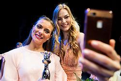 Winner 2016 Tjaša Bahovec (R) and Winner 2017 Manca Šepetavc during Miss sports event, on April 22, 2017 in Cankarjev dom, Ljubljana, Slovenia. Photo by Vid Ponikvar / Sportida