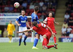 Leyton Orient's David Mooney is fouled by Ipswich Town's Luke Chambers - photo mandatory by-line David Purday JMP- Tel: Mobile 07966 386802 02/08/14 - Leyton Orient v Ipswich Town - SPORT - FOOTBALL - Pre season - London -  Matchroom Stadium