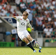 Elliot Daly of England kicks a conversion during the International Test Match match at Twickenham Stadium, Twickenham<br /> Picture by Andrew Tobin/Focus Images Ltd +44 7710 761829<br /> 01/06/2014