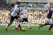 Fulham forward Aleksandar Mitrovic (32) attacks the Aston Villa goal during the EFL Sky Bet Championship match between Fulham and Aston Villa at Craven Cottage, London, England on 17 February 2018. Picture by Andy Walter.