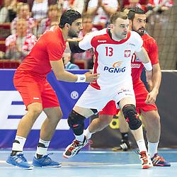 10.04.2016, Ergo Arena, Gdansk, POL, IHF Herren, Olympia Qualifikation, Polen vs Tunesien, im Bild Bartosz Jurecki, Oussama Boughanmi // during the IHF men's Olympic Games handball qualifier between Poland and Tunisia at the Ergo Arena in Gdansk, Poland on 2016/04/10. EXPA Pictures © 2016, PhotoCredit: EXPA/ Newspix/ Tomasz Zasinski<br /> <br /> *****ATTENTION - for AUT, SLO, CRO, SRB, BIH, MAZ, TUR, SUI, SWE only*****