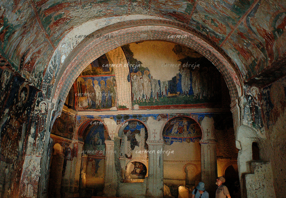 visitors at Tokali Kilise (The Buckle Church) in Goreme, Cappadocia