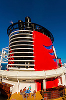 "Aboard the new Disney cruise ship ""Disney Dream"" sailing between Florida and the Bahamas."