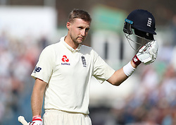 England's Joe Root leaves the field after being dismissed for 108 runs during the test match at The Kia Oval, London.