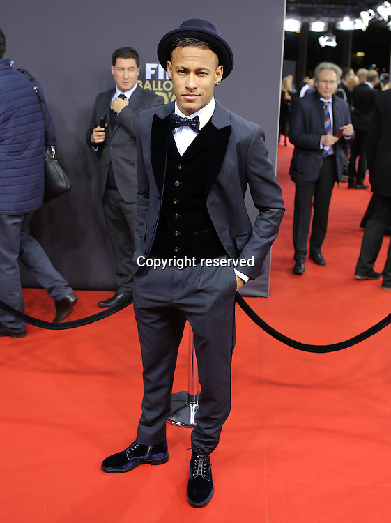 11.01.2016. Zurich, Switzerland. The FIFA Ballon D'Or Awards.  Neymar Jnr. Nominee for World Player of the Year