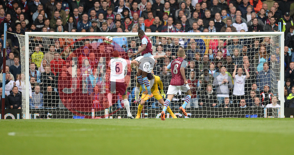 Aston Villa's Christian Benteke scores. - Photo mandatory by-line: Alex James/JMP - Mobile: 07966 386802 - 02/05/2015 - SPORT - Football - Birmingham - Villa Park - Aston Villa v Everton - Barclays Premier League