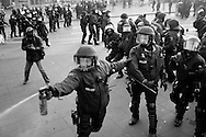 Germany, Frankfurt am Main :  Activists (not seen) clash with police during a demonstration organized by the Blockupy movement to protest against the policies of the European Central Bank (ECB) on March 18, 2015. The Ecb inaugurated today its new headquarter.<br /> <br /> .
