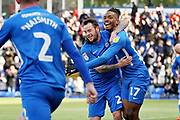 GOAL. Peterborough midfielder Ivan Toney (17) celebrates with Peterborough midfielder Lee Tomlin (29) after Peterborough's second goal during the EFL Sky Bet League 1 match between Peterborough United and Burton Albion at London Road, Peterborough, England on 4 May 2019.