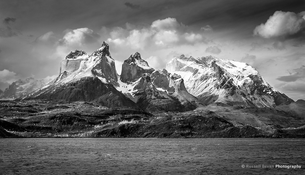 The peaks of the Cuernos del Paine seen from Lago Pehoé in Torres del Paine National Park, Chile - Black & White