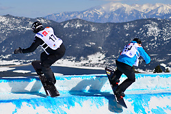 Snowboarder Cross Action, SIDES James, USA, MAYRHOFER Patrick, AUT at the 2016 IPC Snowboard Europa Cup Finals and World Cup