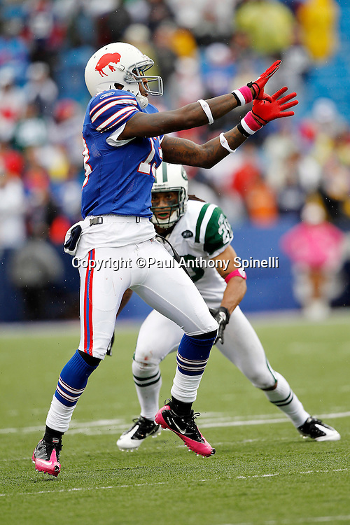 Buffalo Bills wide receiver Steve Johnson (13) catches a fourth quarter pass good for a first down while covered by New York Jets cornerback Kyle Wilson (20) during a NFL week 4 football game against the New York Jets on Sunday, October 3, 2010 in Orchard Park, New York. The Jets won the game 38-14. (©Paul Anthony Spinelli)