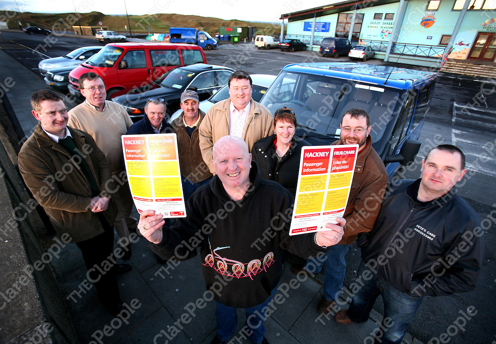 At the Launch of the Nightlink Hackney Cab service in the Lahinch area were (front) Stephen McCormack and (back ) from left Brian Conway,Pat Daniels,Johnny O'Loughlin,Gerard Sheehan,John O'Shea,Marie Dowling,Tom Dowling and Peter McNamara.<br />