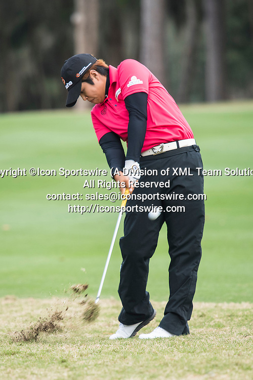 February 06, 2016: Haru Normura hits her second shot on hole 18 during the third round of the Coates Golf Championship in Ocala, FL. (Photograph by Roy K. Miller/Icon Sportswire)