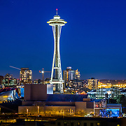 Evening view of Space Needle from Queen Anne hill, Seattle WA. Photo by Alabastro Photography.
