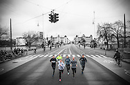 Members of Copenhagen's NBRO Runners are pictured running along Dronning Louises Bro in the Danish capital city<br />