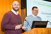 Criminal Justice Champion Winners Peter Atherton & Matthew Kidd <br /> Community Led Initiatives. The Howard League for Penal reform's Community Awards 2015 The Kings Fund, London, UK. All use must be credited © prisonimage.org
