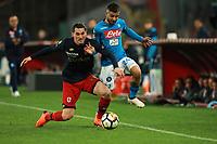 Eugenio Lamanna Genoa e Lorenzo Insigne Napoli<br /> Napoli 18-03-2018  Stadio San Paolo <br /> Football Campionato Serie A 2017/2018 <br /> Napoli - Genoa<br /> Foto Cesare Purini / Insidefoto