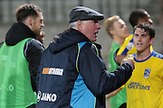 Maidenhead United manager Alan Devonshire celebrates their result in the The FA Cup match between Port Vale and Maidenhead United at Vale Park, Burslem, England on 8 November 2015. Photo by Jemma Phillips.