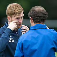 St Johnstone Training....24.07.15<br /> Liam Craig gets Alec Cleland to check if their is something in his eye<br /> Picture by Graeme Hart.<br /> Copyright Perthshire Picture Agency<br /> Tel: 01738 623350  Mobile: 07990 594431