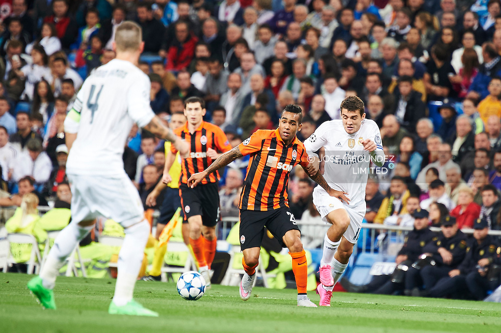 Mateo Kovacic (midfielder, Real Madrid F.C.) in action during the UEFA Champions League match between Real Madrid and FC Shakhtar Donetsk at Santiago Bernabeu on September 15, 2015 in Madrid