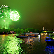 The Green sequential explosion of color during the evening's grand finale of Rhein in Flames near Bonn