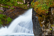 Aster Creek Falls in the Two Medicine Valley of Glacier National Park, Montana, USA