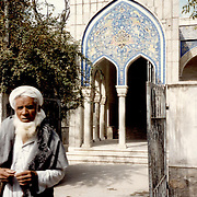 1995<br /> Decoration of blue tiles over the entrance and elsewhere at the Sherpur Mosque, were made in Herat.