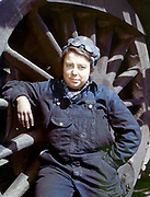 "Fascinating Color Portrait Photos of Women Railroad Workers During WWII<br /> <br /> World War II began when Hitler's army invaded Poland on September 1, 1939. However, it wasn't until the day after the Japanese attacked Pearl Harbor on December 7, 1941, that the United States declared war on the Axis Powers.<br /> <br /> The railroads immediately were called upon to transport troops and equipment heading overseas. Soon the efforts increased to supporting war efforts on two fronts-- in Europe and in the Pacific.<br /> <br /> Prior to the 1940s, the few women employed by the railroads were either advertising models, or were responsible primarily for cleaning and clerical work. Thanks to the war, the number of female railroad employees rose rapidly. By 1945, some 116,000 women were working on railroads. A report that appeared on the 1943 pages of Click Magazine regarding the large number of American women who had stepped forward to see to it that the American railroads continued to deliver the goods during the Second World War:<br /> <br />     ""Nearly 100,000 women, from messengers aged 16 to seasoned railroaders of 55 to 65, are keeping America's wartime trains rolling. So well do they handle their jobs that the railroad companies, once opposed to hiring any women, are adding others as fast as they can get them...""<br /> <br /> In April 1943, Office of War Information photographer Jack Delano photographed the women of the Chicago & North Western Railroad roundhouse in Clinton, Iowa, as they kept the hulking engines cleaned, lubricated and ready to support the war effort.<br /> <br /> Photo shows: Mrs. Dorothy Lucke, a roundhouse wiper.<br /> ©Library of Congress/Exclusivepix Media"