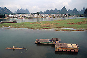 The Li River in Yangshuo, China. In the background are karst mountains, which are famous landscape features of this part of China near Guillin in Guangxi Porovice. Image from the book project Man Eating Bugs: The Art and Science of Eating Insects.