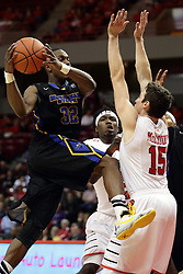 16 November 2015: Justin McCloud(15) stands his ground and gets a favorable call as he tumbles to the floor compliments of ball handler Brent Arrington. Illinois State Redbirds host the Morehead State Eagles at Redbird Arena in Normal Illinois (Photo by Alan Look)