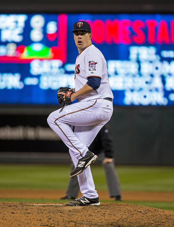 MINNEAPOLIS, MN- APRIL 30: Trevor May #65 of the Minnesota Twins pitches against the Chicago White Sox on April 30, 2015 at Target Field in Minneapolis, Minnesota. The Twins defeated the White Sox 12-2. (Photo by Brace Hemmelgarn) *** Local Caption *** Trevor May