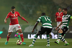 April 22, 2017 - Lisbon, Portugal - Benfica's Argentine midfielder Eduardo Salvio vies with Sporting's Portuguese midfielder William Carvalho (C ) and Sporting's Portuguese midfielder Adrien Silva (R ) during the Portuguese League football match Sporting CP vs SL Benfica at the Alvadade stadium in Lisbon on April 22, 2017. (Credit Image: © Pedro Fiuza/NurPhoto via ZUMA Press)