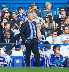 LONDON, ENGLAND - Saturday, October 31, 2015: Chelsea's manager Jose Mourinho looks dejected as Liverpool score a third goal during the Premier League match at Stamford Bridge. (Pic by Lexie Lin/Propaganda)