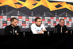 11.03.2020, TGW Arena, Pasching, AUT, UEFA EL, LASK vs Manchester United, Achtelfinale, Hinspiel, Pressekonferenz, im Bild v.l. Christian Ramsebner (LASK), Trainer Valerien Ismael (LASK), Präsident Siegmund Gruber (LASK) // during a press converence before the UEFA Europa League round of last 16 match between LASK and Manchester United at the TGW Arena in Pasching, Austria on 2020/03/11. EXPA Pictures © 2020, PhotoCredit: EXPA/ Reinhard Eisenbauer