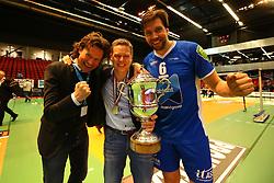 20160424 NED: Play off finale Abiant Lycurgus - Seesing Personeel Orion, Groningen<br />Arjan Taaij, headcoach of Abiant Lycurgus, Dennis van der Veen (6) of Abiant Lycurgus