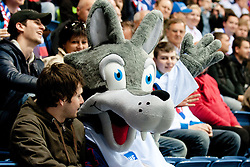 Official mascot Goooly and fans during ice-hockey match between Slovenia and Belarus of Group G in Relegation Round of IIHF 2011 World Championship Slovakia, on May 8, 2011 in Orange Arena, Bratislava, Slovakia. (Photo by Matic Klansek Velej / Sportida)