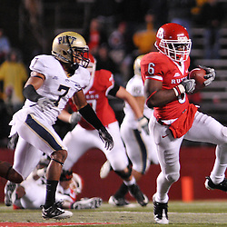 Oct 16, 2009; Piscataway, NJ, USA; Rutgers wide receiver Mohamed Sanu (6) runs after a catch during second half NCAA football action in Pittsburgh's 24-17 victory over Rutgers at Rutgers Stadium.