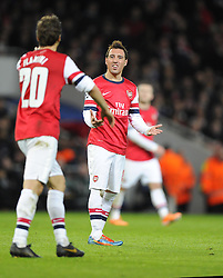 Arsenal's Santi Cazorla cuts a frustrated figure - Photo mandatory by-line: Joe Meredith/JMP - Tel: Mobile: 07966 386802 19/02/2014 - SPORT - FOOTBALL - London - Emirates Stadium - Arsenal v Bayern Munich - Champions League - Last 16 - First Leg