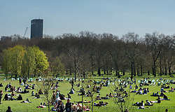 © Licensed to London News Pictures. 01/05/2013. London, UK. People enjoy the May sunshine in Green Park on May 1, 2013 in London. After the coldest start to spring for more than 50 years, forecasters say the sunshine and warm weather has finally arrived in London. Photo credit : Peter Kollanyi/LNP