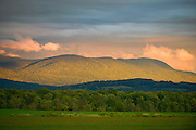 Late afternoon light on the Green Mountains from Whiting, Vermont.