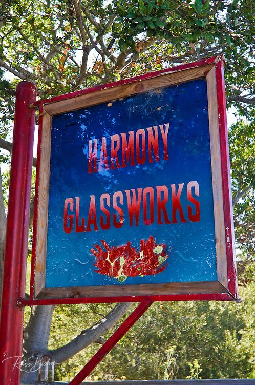 Sign at Harmony Glassworks, Harmony, California